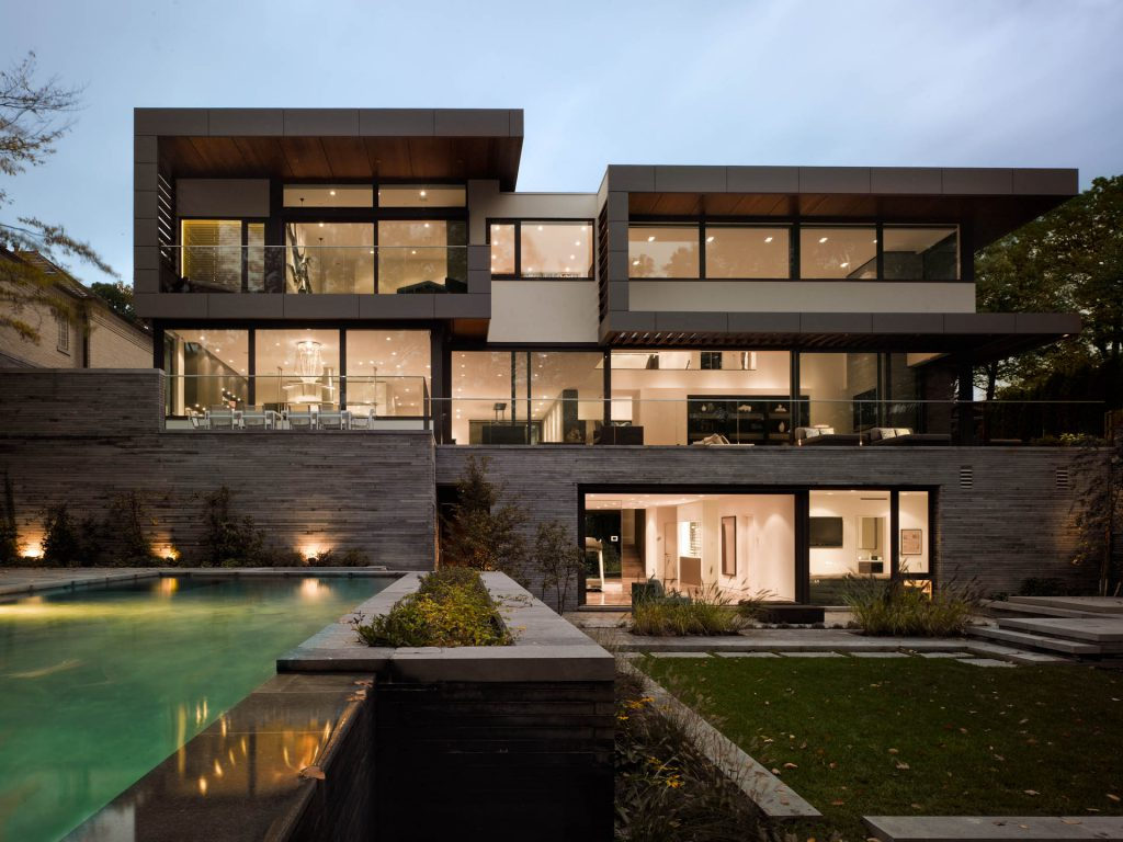 A modern house built by a custom home builder